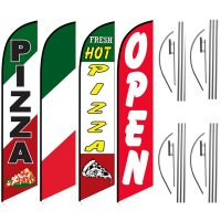Pizza Feather Flag Package – Pack of 4 with Pre-Curved Poles & Ground Spike