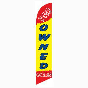 Pre-owned Cars feather flag is a radiant red and yellow feather flag.