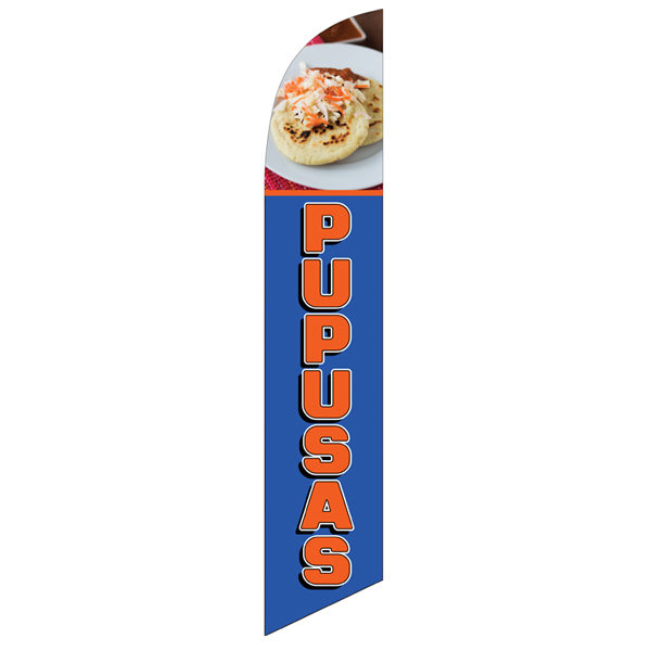 Blue and Orange Pupusas feather flag