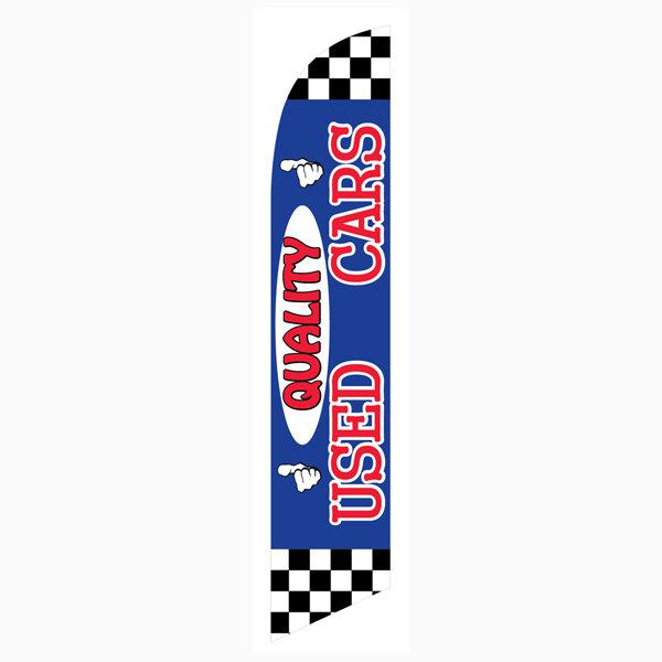 Quality Used Cars feather flag or banner has a blue and red design.