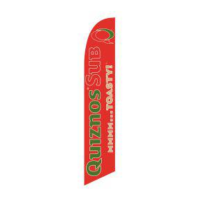 High quality polyester material red Quiznos feather flag for outdoor use