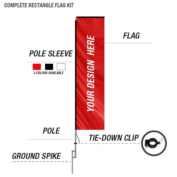 custom rectangle flag kit with ground spike and poles