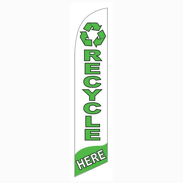 Recycle Here feather flag is a must have for all recycling centers