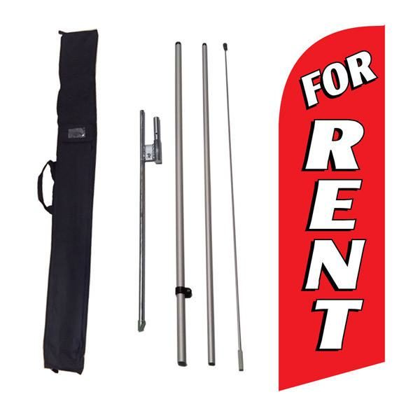 For Rent Feather Flag Kit w/ Ground Stake and Travel Bag