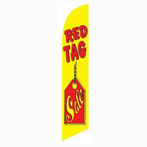 Red Tag Sale feather flag has a bright yellow and red design.