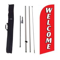 Welcome red Feather Flag Kit w/ Ground Stake and Travel Bag