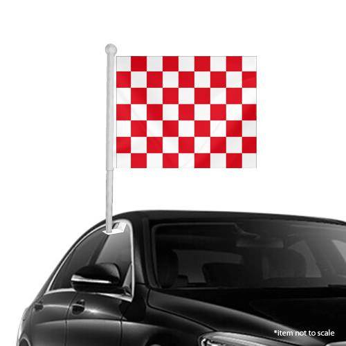 Red White Checkered Window Clip on Flag
