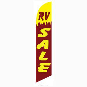 RV Sale feather flag is a yellow and reddish purple feather flag.