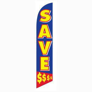 Save money feather flag has a blue back with yellow lettering.