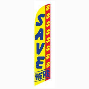 Save Money here feather flag has a yellow and blue design.