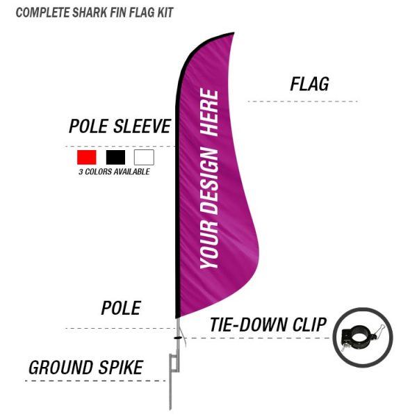shark fin feather banner flag ground spike kit