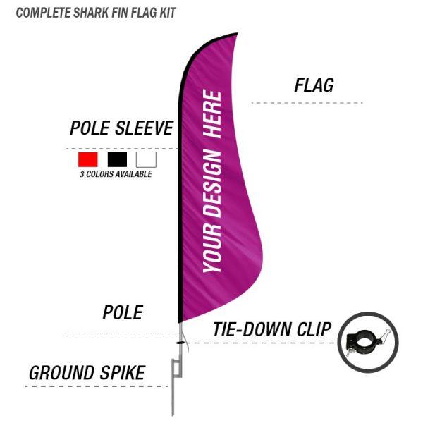 shark fin feather banner flag ground spike kit