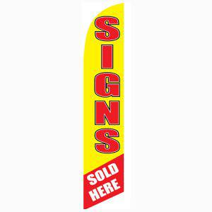 Signs Sold Here feather flag Yellow and Red Swooper Banner for Print Shops