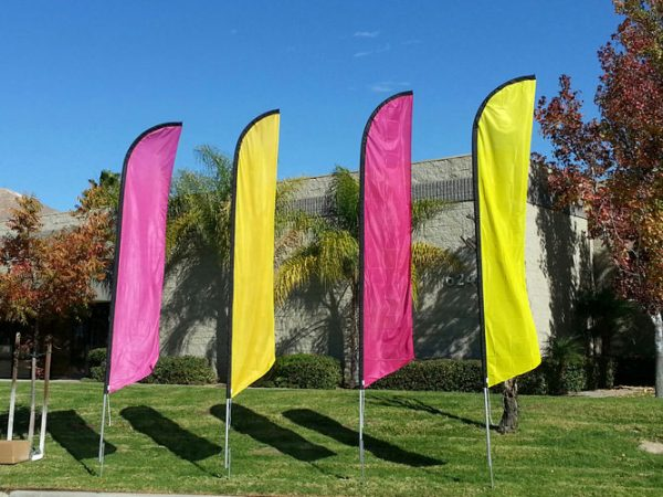 Solid Magenta Colored Feather Banner Flag