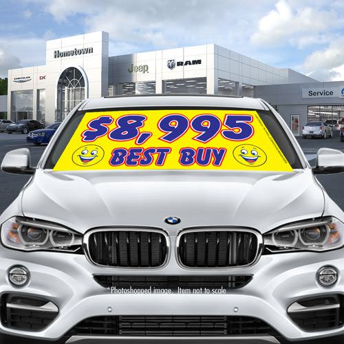 Stock yellow smiley car windshield banner