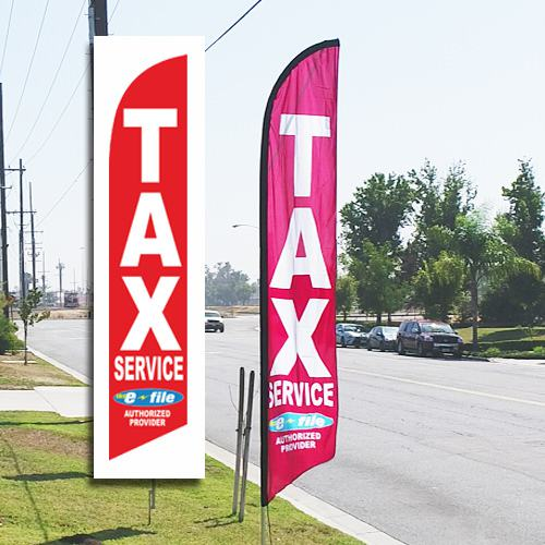 Tax Service feather flag e-file red