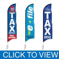 Taxes Feather Flags in Stock