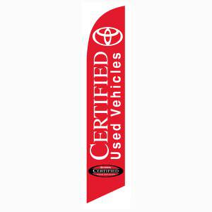 Toyota Certified Used Vehicles feather flag is a vibrant red and white.