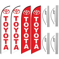 Toyota Feather Flag Package – Pack of 4 with Pre-Curved Poles & Ground Spike