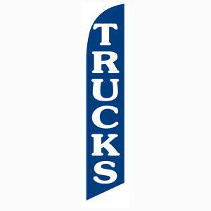 blue Trucks feather flag is a deep blue with white lettering.