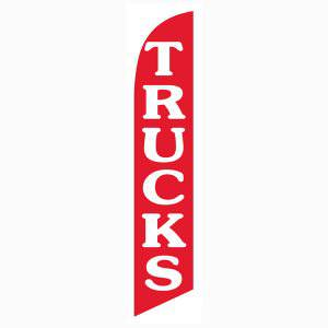 Red Trucks feather flag is a bright red background with white letters.