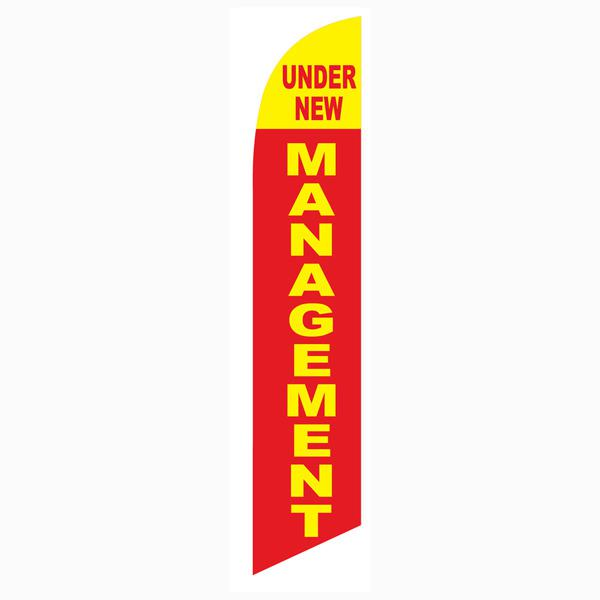 Under New Management feather flag for all newly owned businesses