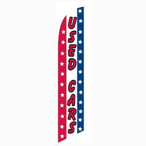 Patriotic Used Cars feather flag has a red white and blue design.