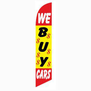 Advertise outside your car dealership with this We Buy Cars feather flag