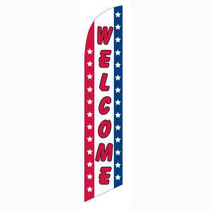 Patriotic Welcome feather flag Red Blue White Stripes and Stars