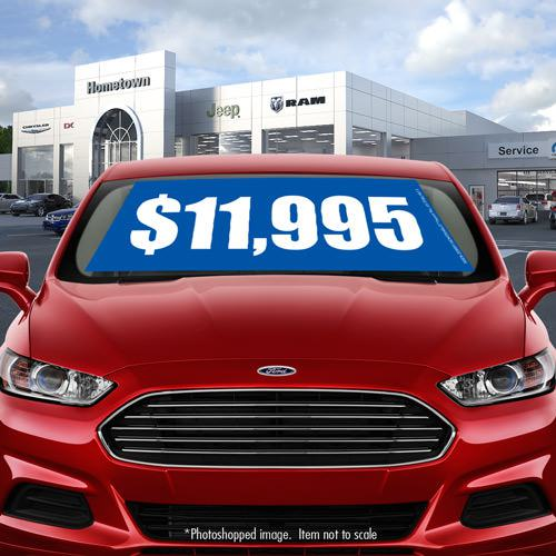 Car-lot Promotion - Blue Car Windshield Banner