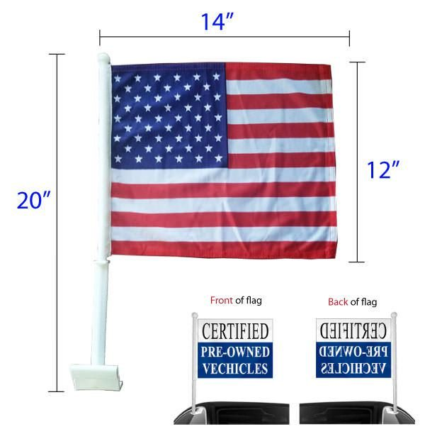 Stock window clip-on flags dimensions and spec sheet.
