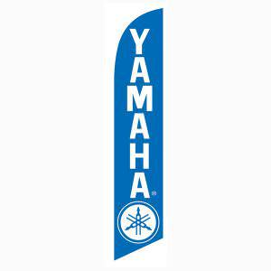 The blue Yamaha feather flag has a solid blue and white  design.