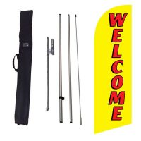 Welcome yellow Flag Kit w/ Ground Stake and Travel Bag